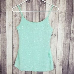 Justice mint green sequined front tank top